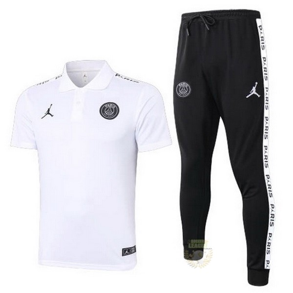 Site Foot Pas Cher Ensemble Complet Polo Paris Saint Germain 2020 2021 Blanc Noir