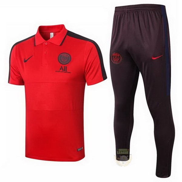 Site Foot Pas Cher Ensemble Complet Polo Paris Saint Germain 2020 2021 Rouge Noir